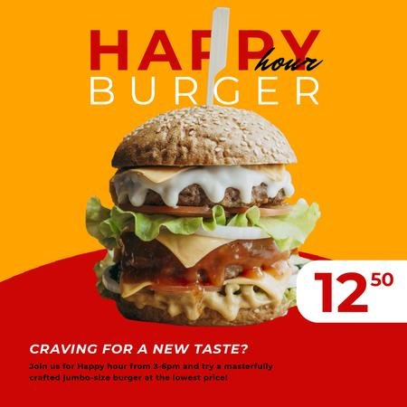 Happy Hour Offer with Mouthwatering Burger Animated Post Modelo de Design