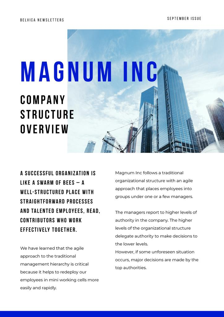 Company Structure Overview with Skyscrapers in City Newsletter Design Template