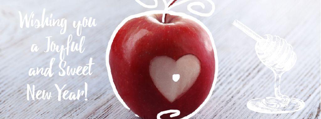 Rosh Hashanah apple with heart symbol — Modelo de projeto