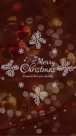 Plantilla de diseño de Christmas Greeting with Shiny Decorations Instagram Video Story