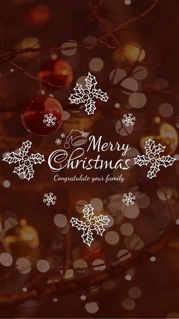 Christmas Greeting with Shiny Decorations Instagram Video Story – шаблон для дизайну