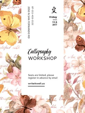 Plantilla de diseño de Calligraphy Workshop Announcement Watercolor Flowers Poster US