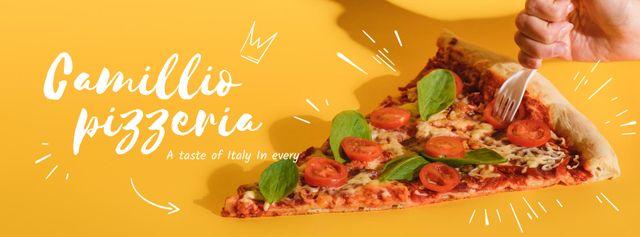 Pizzeria Ad in Yellow Facebook cover Modelo de Design