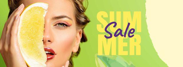 Summer Sale with Woman holding Pomelo fruit Facebook cover Modelo de Design