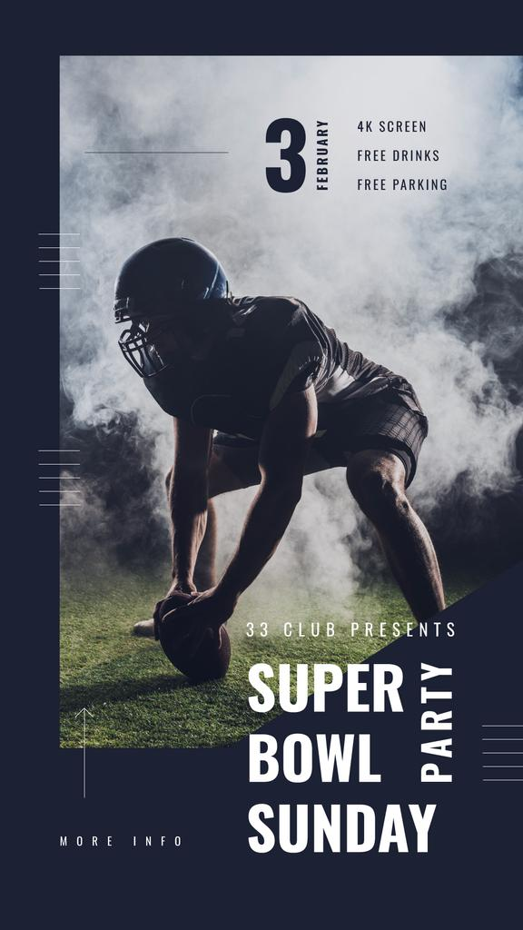 Super Bowl Party Invitation with American football player — ein Design erstellen