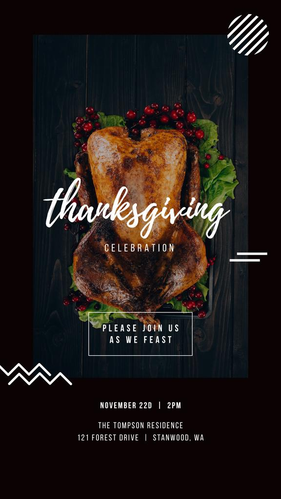 Thanksgiving Invitation Roasted Whole Turkey   Stories Template — Créer un visuel