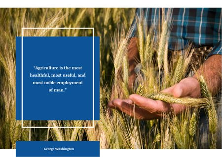 Farmer working in field and Quote Postcard Modelo de Design