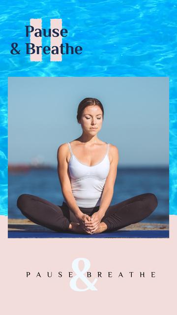 Modèle de visuel Woman Practicing Yoga at the Coast - Instagram Video Story