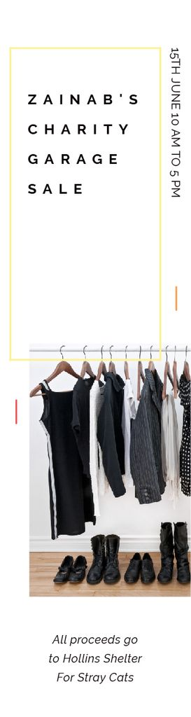 Charity Sale Announcement Black Clothes on Hangers — Crear un diseño