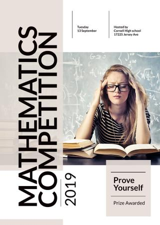 Ontwerpsjabloon van Invitation van Mathematics competition announcement with Thoughtful Student