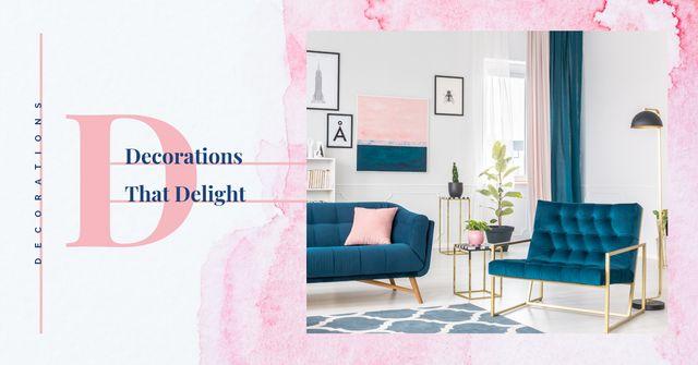 Cozy interior in blue colors Facebook AD – шаблон для дизайну