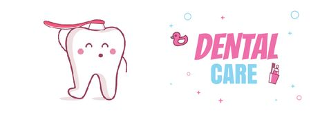 Template di design Cartoon tooth brushing itself Facebook Video cover