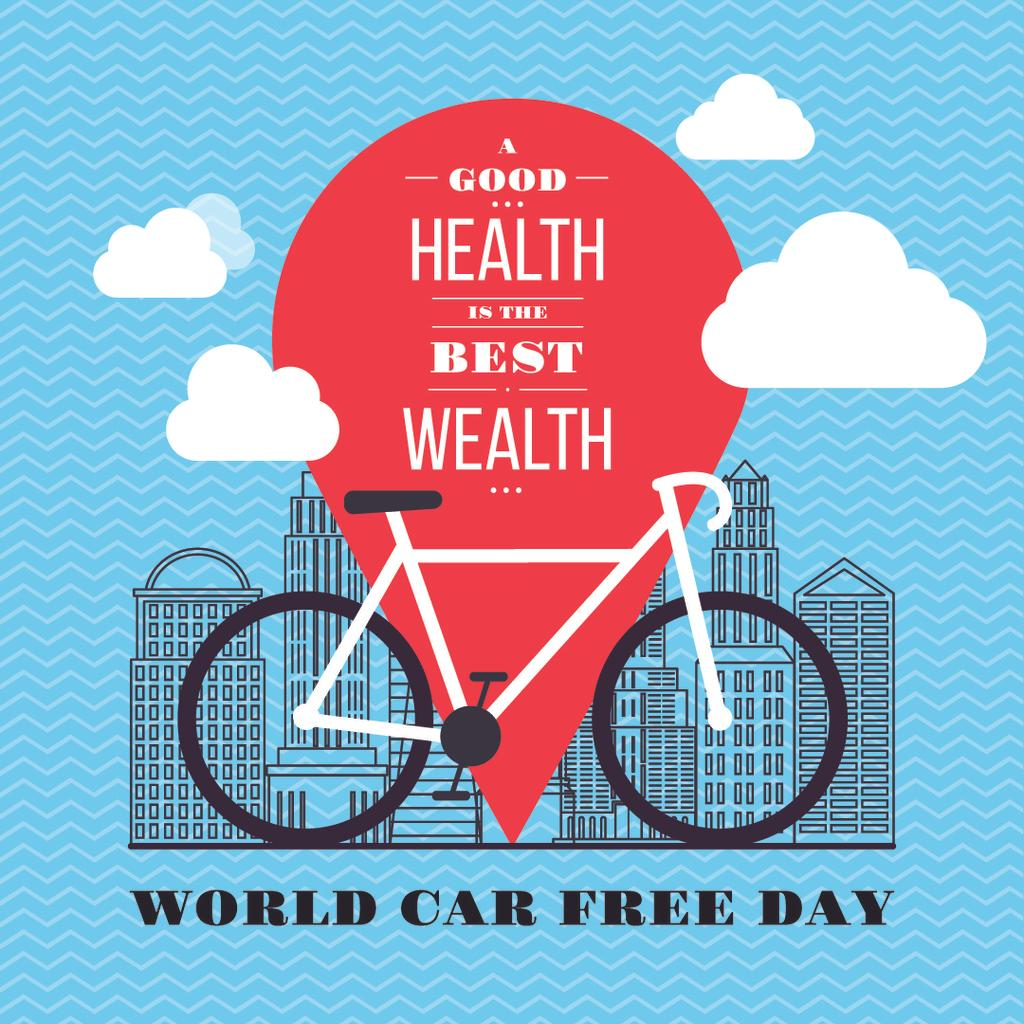 World car free day poster with bicycle — Create a Design
