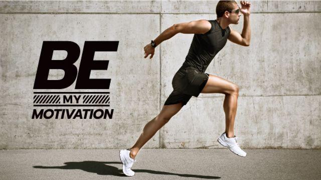 Plantilla de diseño de Cardio Workout with Man Running in City Title