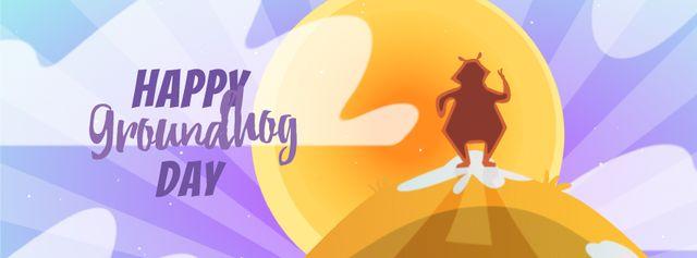 Happy Groundhog Day animal at sunset Facebook Video cover – шаблон для дизайну
