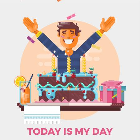 Plantilla de diseño de Man celebrating birthday Animated Post