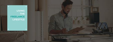 Plantilla de diseño de Freelance Lifestyle concept with Young man working at home Facebook cover
