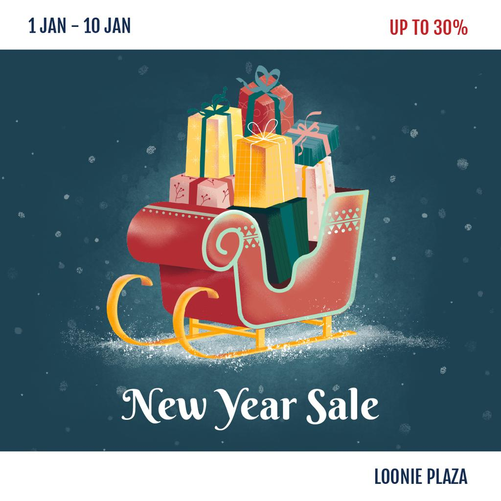 New Year Sale Gifts in Sleigh — Створити дизайн