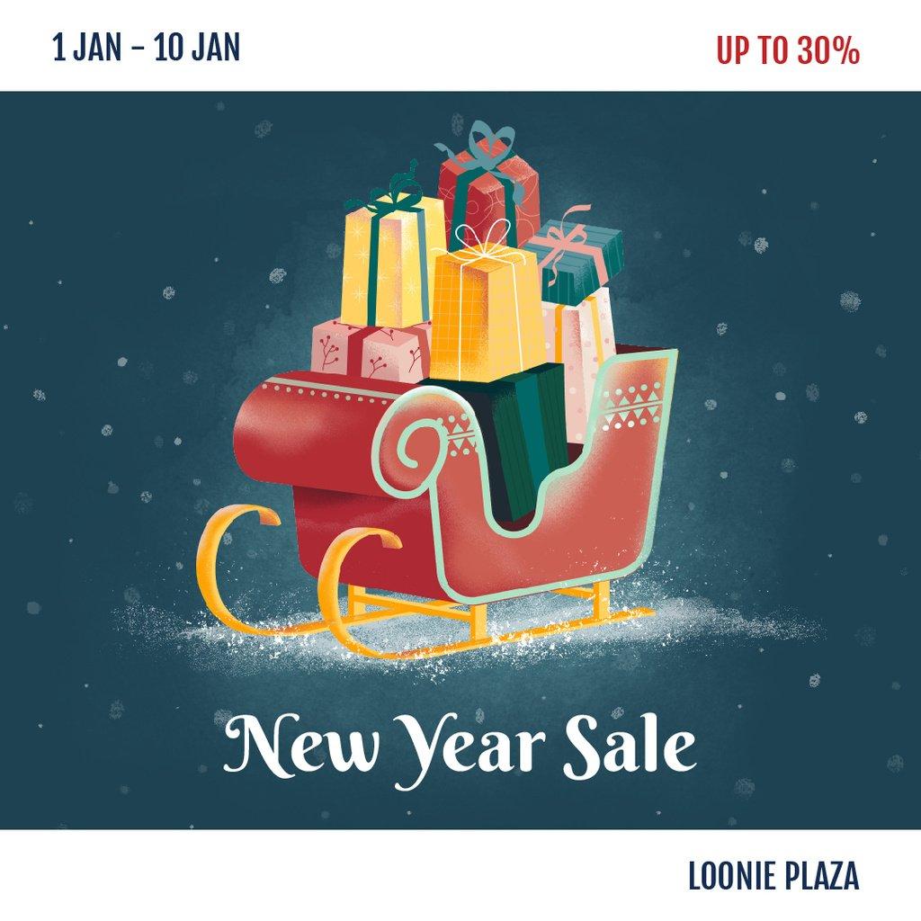 New Year Sale Gifts in Sleigh — Создать дизайн