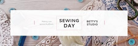 Modèle de visuel Sewing day event  - Twitter