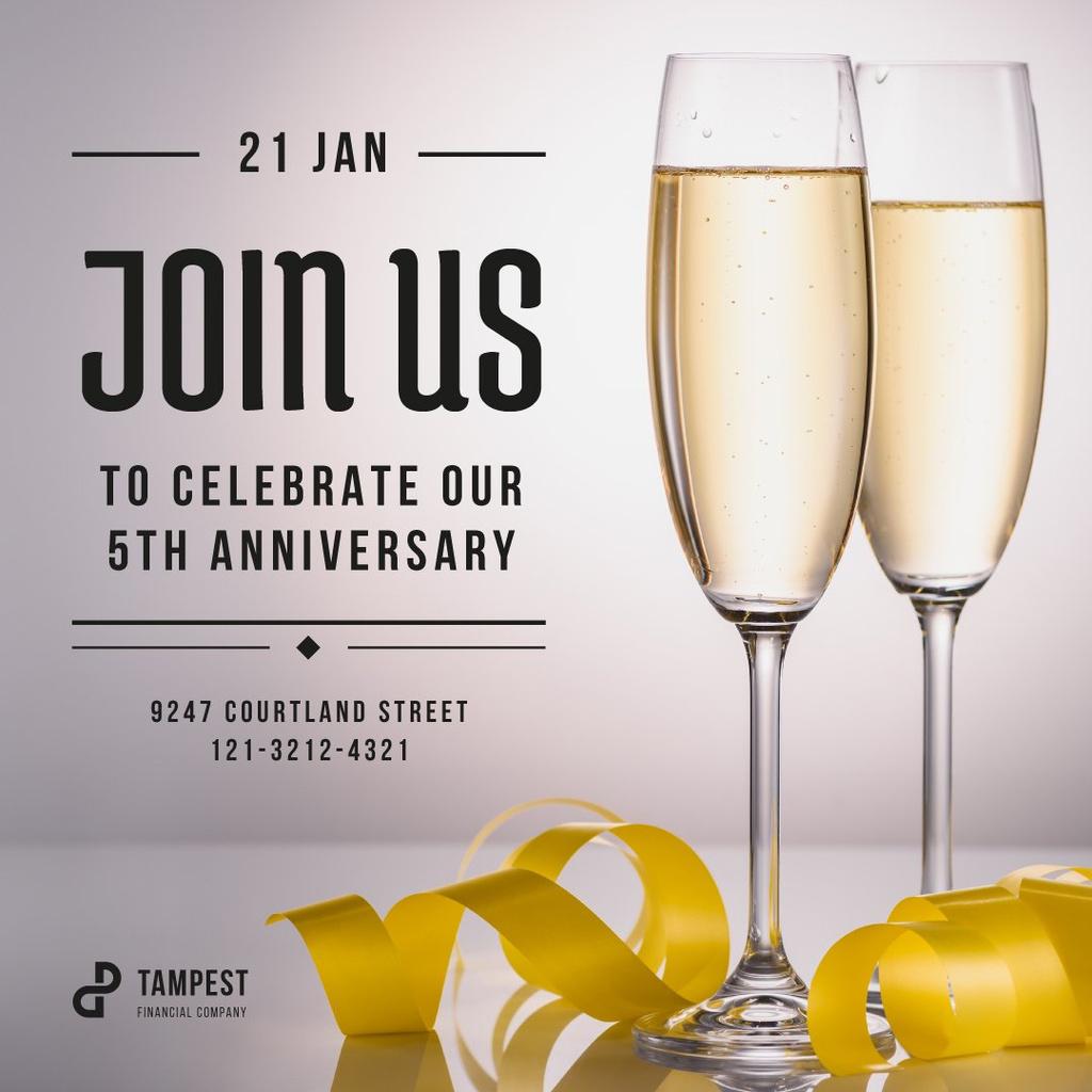 Anniversary Celebration Invitation Glasses of Champagne Instagram – шаблон для дизайна