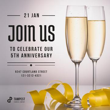 Anniversary Celebration Invitation Glasses of Champagne