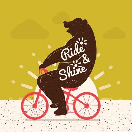 Bear Riding on Red Bicycle Animated Postデザインテンプレート