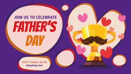 Father's Day Greeting Trophy Cup with Mustaches FB event cover Modelo de Design