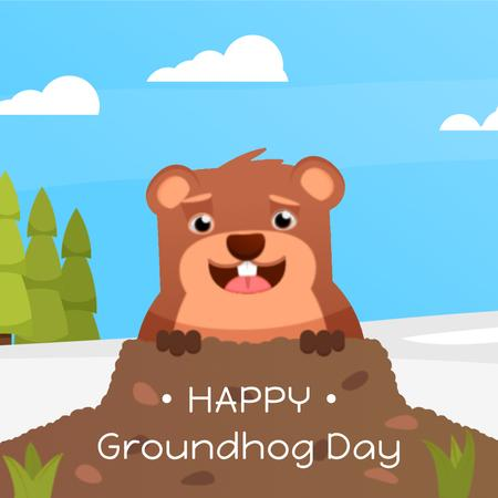 Plantilla de diseño de Cute funny animal on Groundhog Day Animated Post