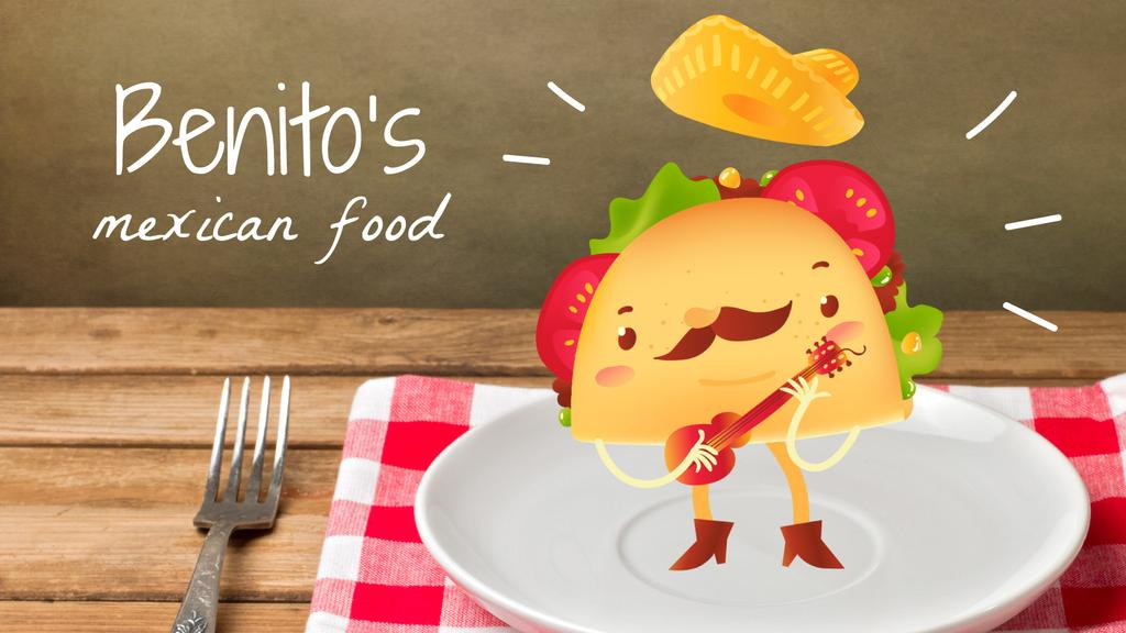 Mexican taco cartoon character playing guitar on plate — Créer un visuel