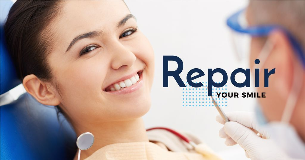 dentistry advertisement poster with smiling young woman — Створити дизайн