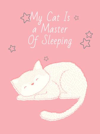 Ontwerpsjabloon van Poster US van Cute Cat Sleeping in Pink