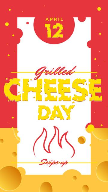 Ontwerpsjabloon van Instagram Story van Grilled cheese day with Fire illustration