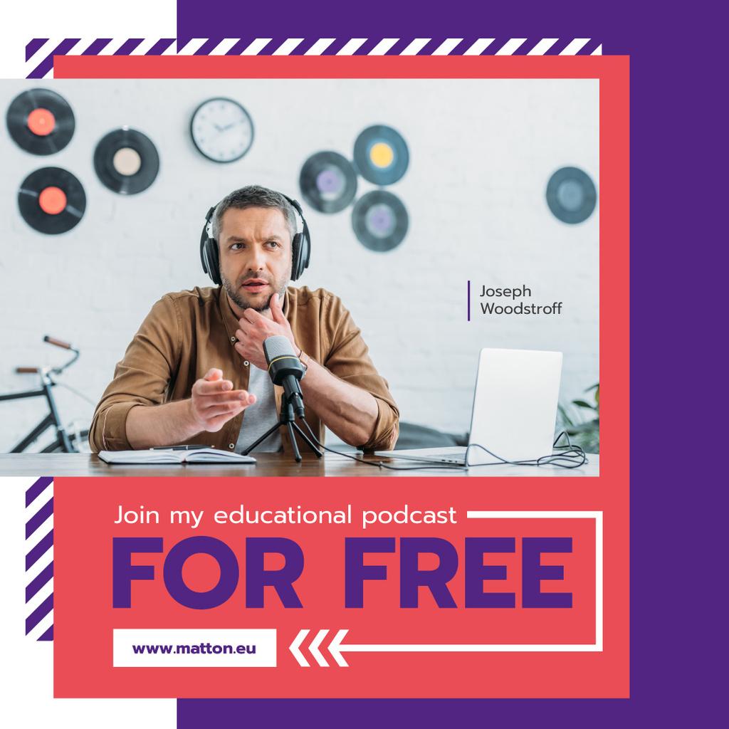 Radio Podcast Announcement Presenter in Studio — Crear un diseño