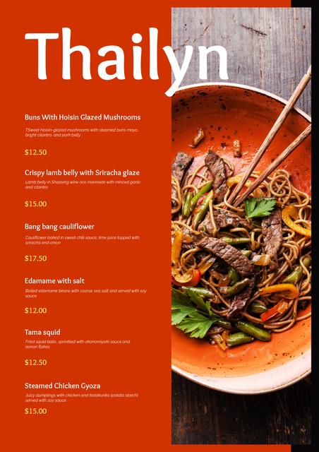Plantilla de diseño de Asian Noodles dish Menu