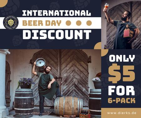 Beer Day Discount Brewer with Barrels Facebookデザインテンプレート
