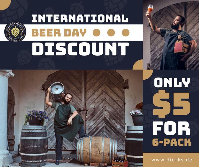 Beer Day Discount Brewer with Barrels Facebook Modelo de Design