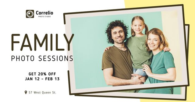 Photo Session Offer Happy Family with Daughter Facebook AD Design Template