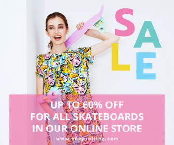 Sports Equipment Ad Girl with Bright Skateboard | Medium Rectangle Template