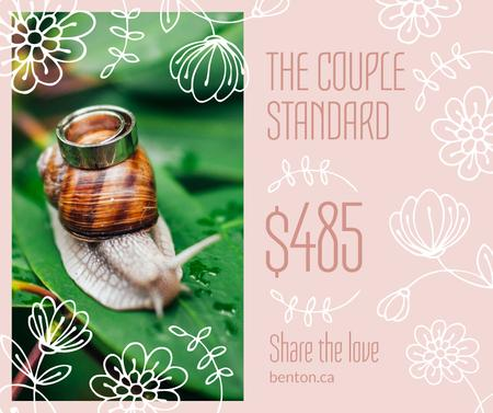 Wedding offer Rings on Snail Facebook Modelo de Design