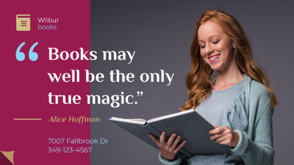 Books Quote Smiling Woman Reading — Create a Design