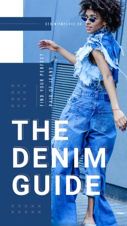 Woman wearing denim clothes Instagram Story Modelo de Design