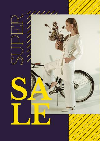 Ontwerpsjabloon van Flayer van Clothes Sale Young Attractive Woman by Bicycle