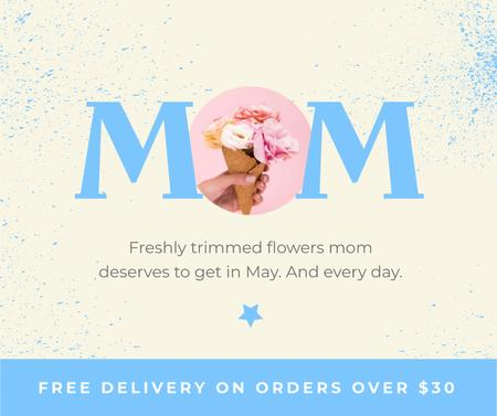 Flowers Delivery Offer on Mother's Day Facebook Modelo de Design