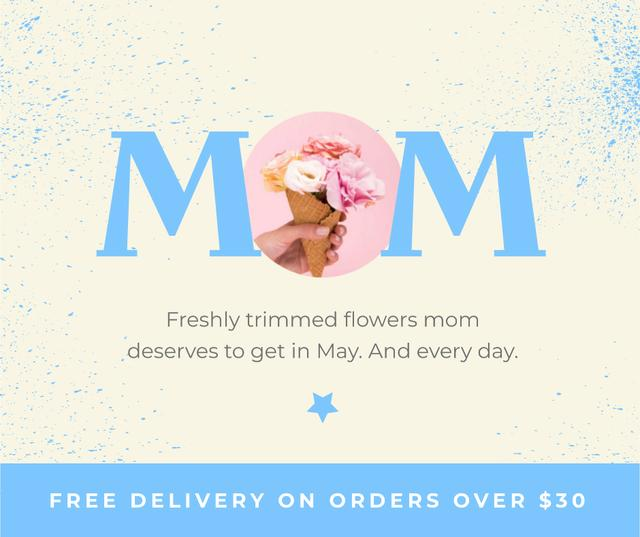 Flowers Delivery Offer on Mother's Day Facebook Design Template