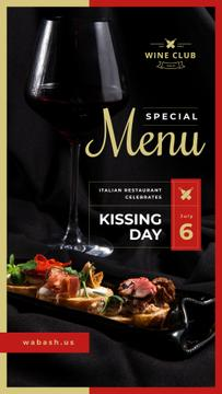 Wine and Food Menu on Black | Stories Template