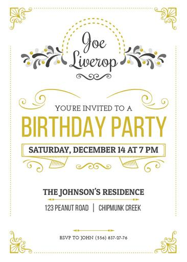 Birthday Party Invitation In Vintage Style