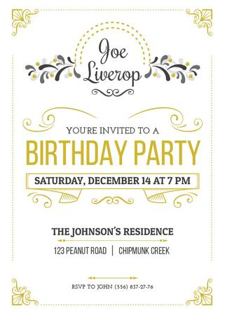 Ontwerpsjabloon van Invitation van Birthday Party Invitation in Vintage Style