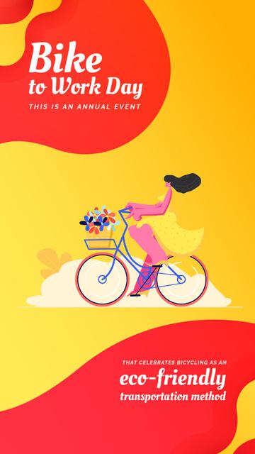 Bike to Work Day Girl Cycling with Flowers Instagram Video Story – шаблон для дизайну