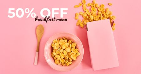 Ontwerpsjabloon van Facebook AD van Cafe Offer Healthy Breakfast with Cereals